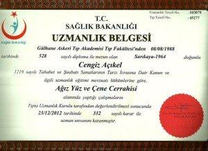 T.C Sağlık Bakanlığı Çene Cerrahisi Uzmanlığı Sertifikası